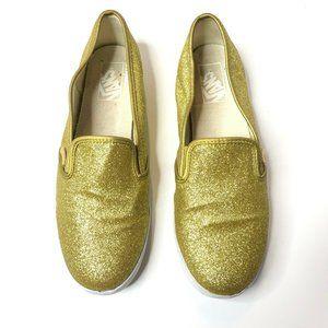 Vans Mens 7.5 Gold Sparkle Slip On Flat Shoes